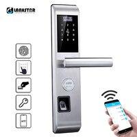 Password Fingerprint Card Keys Bluetooth APP Smart Lock Anti theft Door Locks English System Intelligent Lock Outdoor Dead Lock