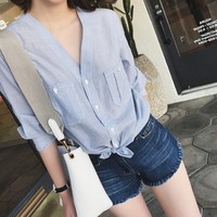 2018 Summer New Thin Fresh Striped V neck Shirt Ladies Blue Stripe Peplum Tops Blusas Women Clothing Fashion Buttons Casual Wear
