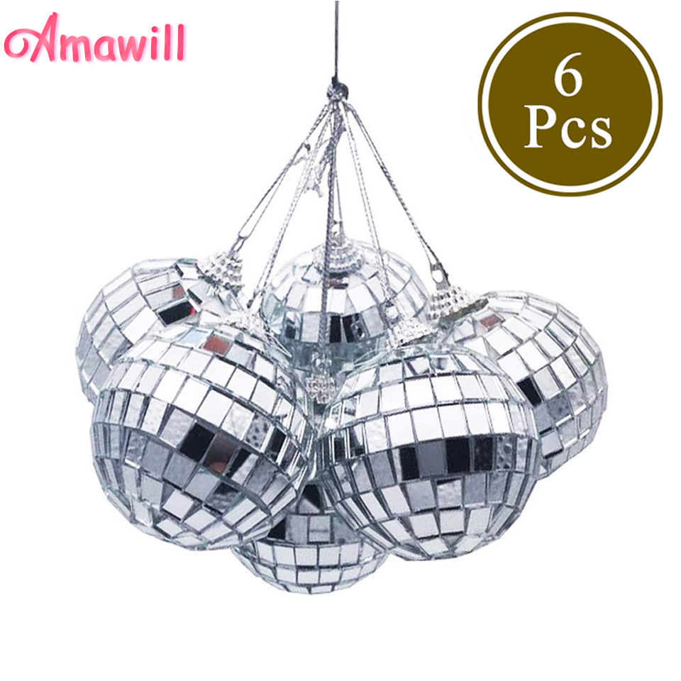 Amawill 6pcs Christmas Ball Ornaments 3cm 5cm Mini Disco Mirror Ball Christmas Tree Decoration Xmas Party Favor And Gift 8D