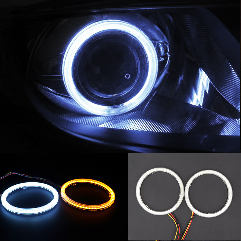 Niscarda 2x 80mm Driving White Turn Signal Yellow LED Angle Eyes Halo Rings Switchback Light Car Headlight Auto Lamp