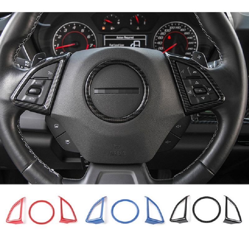 MOPAI ABS Car Interior Steering Wheel Decoration Cover Trim Stickers For Chevrolet Camaro 2017 Up Car Styling