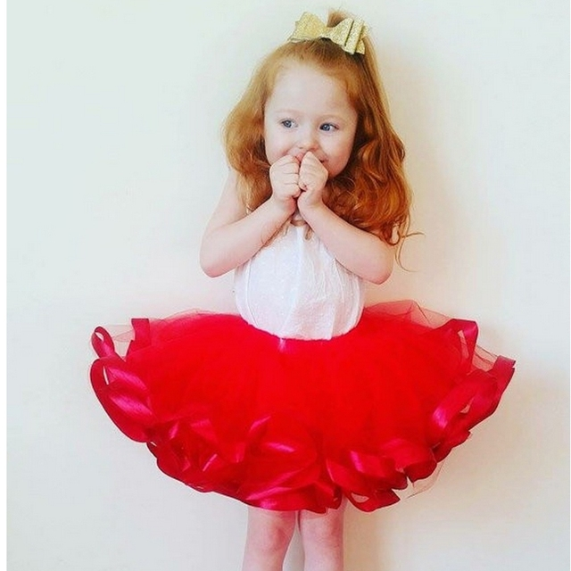 14ac53933033 Baby Girls tutu skirts 3 layers ribbon tulle Red Christmas Costume ...
