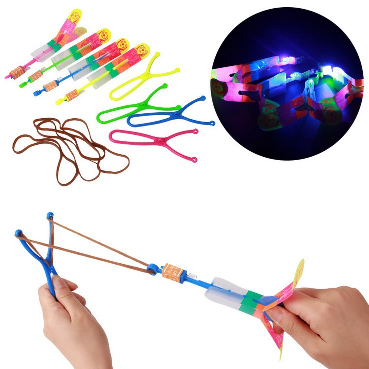 10pcs Luminous LED Slingshot light-up toy Catapult Kids Outdoor Gaming Toy blue light rocket arrows Luminous Flying rocket