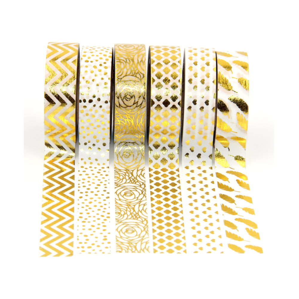New 6x 15mm gold foil washi tapes set for christmas print for Deco 6 hoerdt