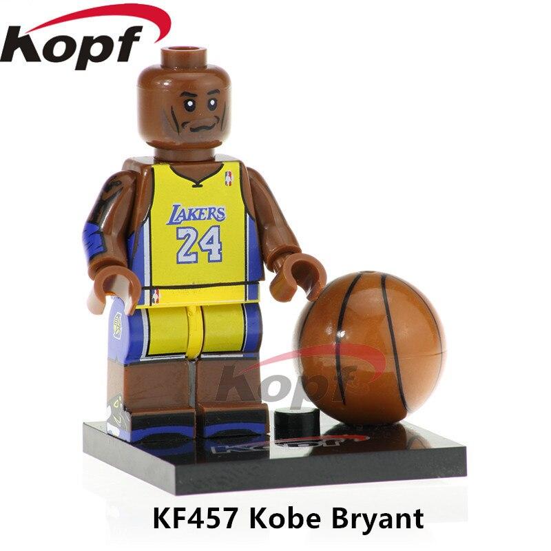 Building Blocks Single Sale Kobe Bryant NBA Professional Basketball Player Figures Labron James Bricks Toys for children KF457 nba basketball characters kobe james curry kyrie john damian 10cm action figure toys