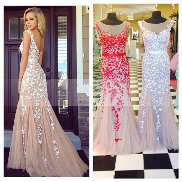 Aliexpress.com : Buy Mermaid See Through lace Prom Dresses Real ...