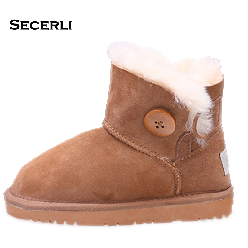 2018 SheepSkin Kids Boys Girls Snow Boots Rubber Sole Flat Kids Winter Shoes Anti Slip Mid-Calf Warm Kids Girls Boots snow toddler fur warm boots soft mid calf kids booties waterproof baby winter pink shoes little girls boys infant boot kt902