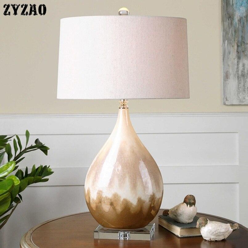 Lampe de Table Textile en céramique émaillée avec perle américaine lampe de Table design de luxe moderne lampe de Table modèle chambre salon chevet lampe de bureau Led
