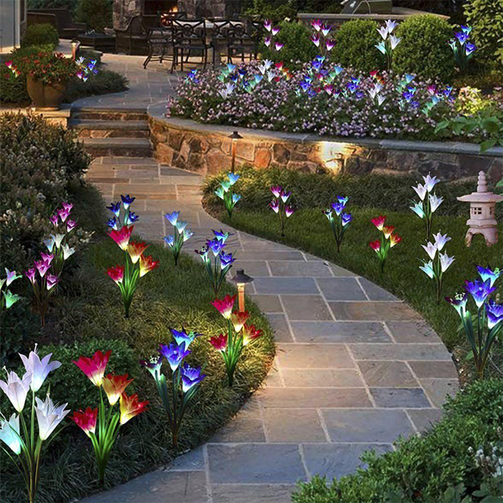 Outdoor Solar Powered Artificial Lily Flower Garden Lamp Lawn Decor LED Light New Arrival