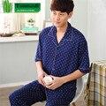 Men's Pajamas Summer Bamboo Fiber Pyjamas Men Short sleeve Trousers Sleepwear Father Men lounge Pajama Set Plus Size 4XL