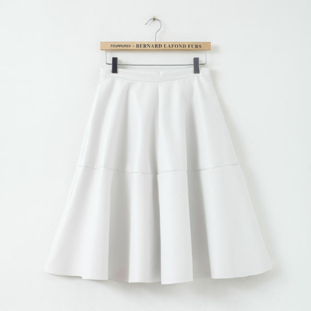 Female Preppy Style PU Skirt Spring Summer Autumn 2015 New Latest Women's Fashion Black And White PU Leather Knee Length Skirt