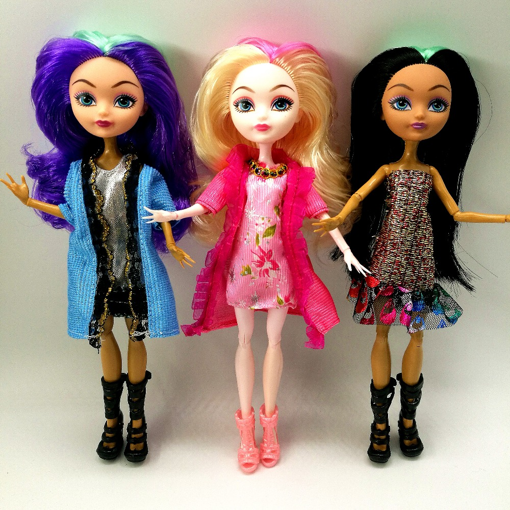 все цены на Cheapest NO BOX 3 pcs/Set Dolls Ever After Doll High Toys Monster Fun quality Moveable Joint Body Fashion dolls Best Gift Girls онлайн