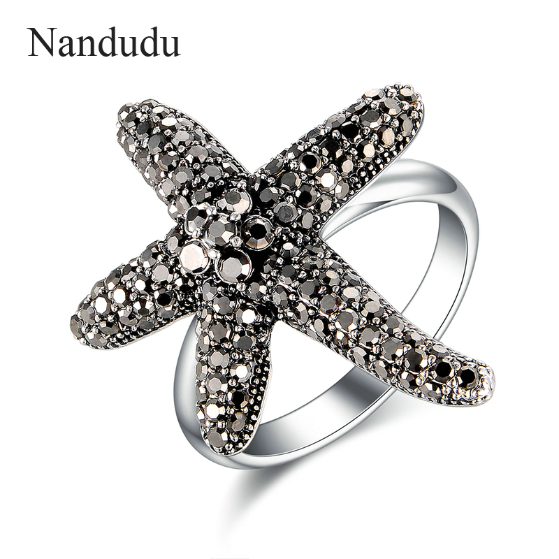 Nandudu Brand Starfish Stretch Rings Fashion Hot Sale Brand Silver Color With CZ Jewelry Top Quality Ring Accessories R1826