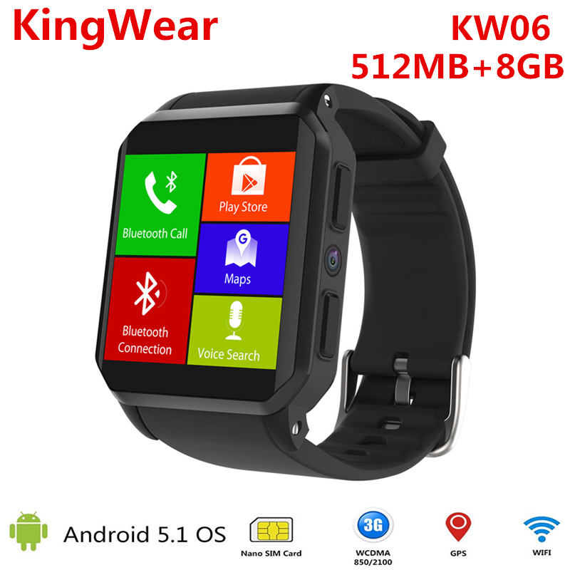 все цены на KW06 PK KW18 Smart Watch men Android 5.1 Wrist Phone MTK6580 512MB 8GB Heart Rate Monitor Bluetooth Smartwatch for Android iOS онлайн