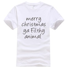 f34bce37b Christmas gift New fashion 100% cotton T-shirts Skateboard Tee Printed  Funny Tshirt Tops - merry christmas ya filthy animal