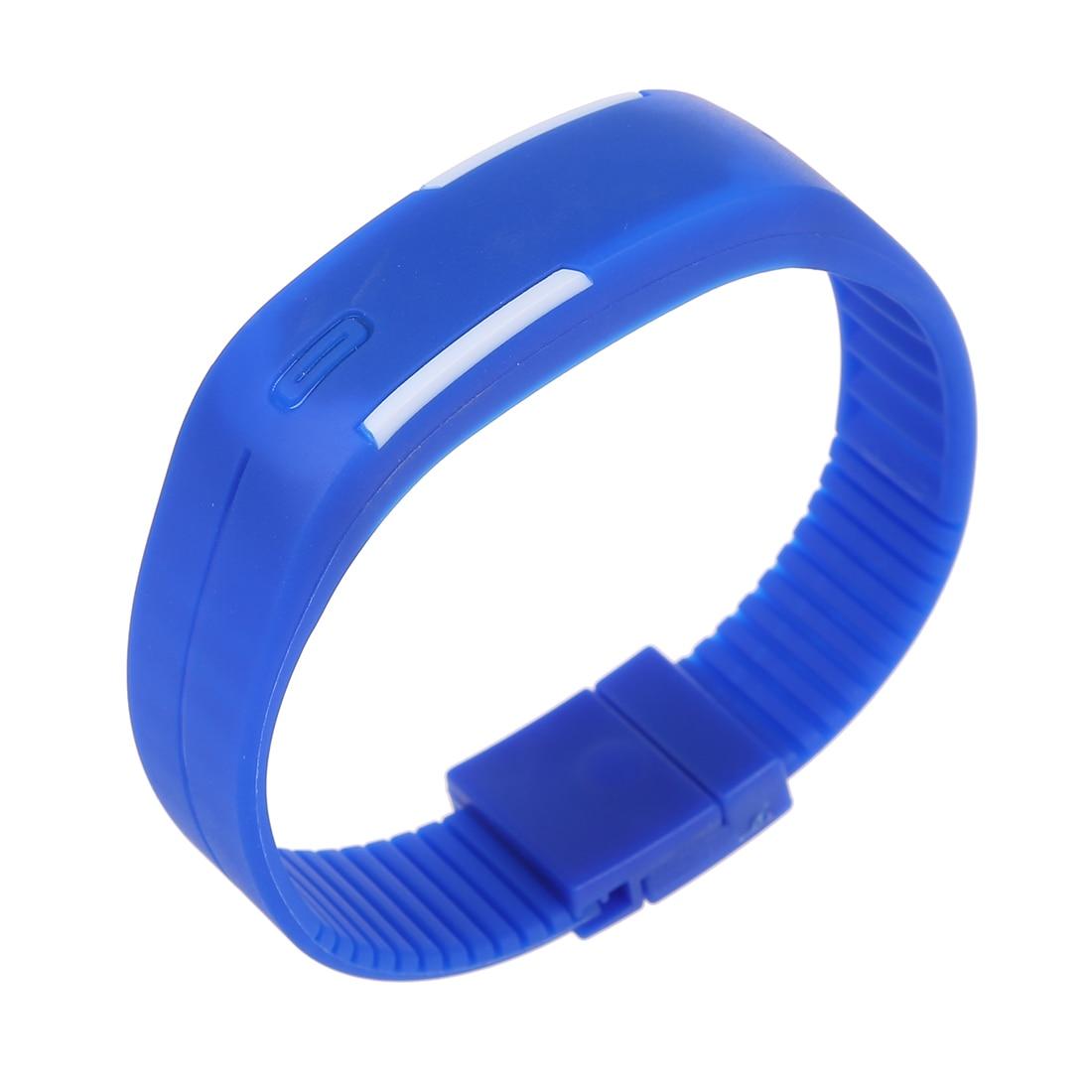 Men's Women's Silicone Red LED Touch Digital Wrist Watch Bracelet Dark Blue