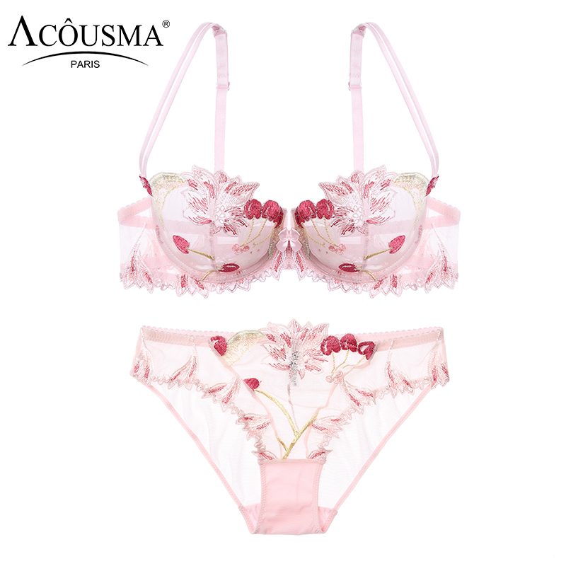 ACOUSMA Women Bra Lace Embroidery Brief Panty Sets Ultrathin Sexy Underwear Transparent Erotic Lingerie Brassiere See through