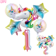 6pcs Pink Unicorn Set Happy Birthday Party Decoration Kids Supplies Baby Shower Pary Accessories