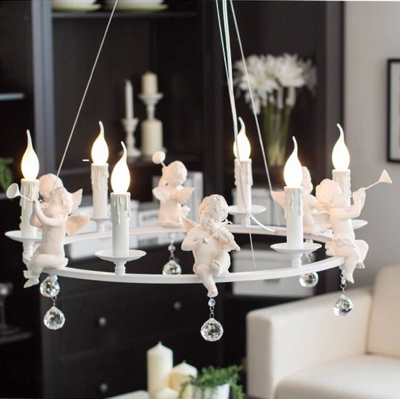 Nordic White Angels Pendant Lights Fixture Home Indoor Lighting Kids Children Bed Room Foyer Dining Room Hanging Lamps D80cm