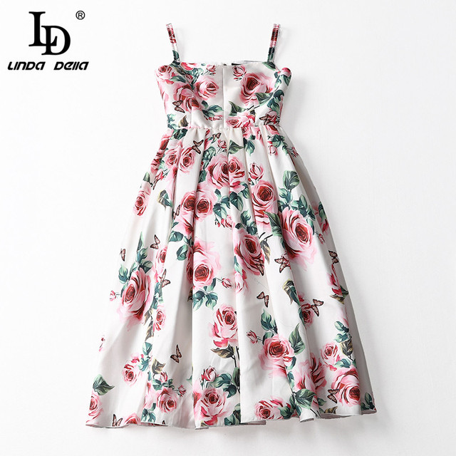 Spaghetti Strap Backless Casual Elegant Rose Floral Print Dress