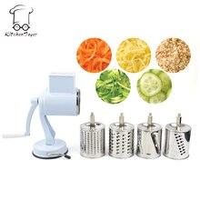 Saugfuß Rotary Kartoffel Gemüsehobel Fruit Schredder Käse Chopper Reibe Schredder Multi Küche Lebensmittel Mühle Werkzeug 5 Trommeln