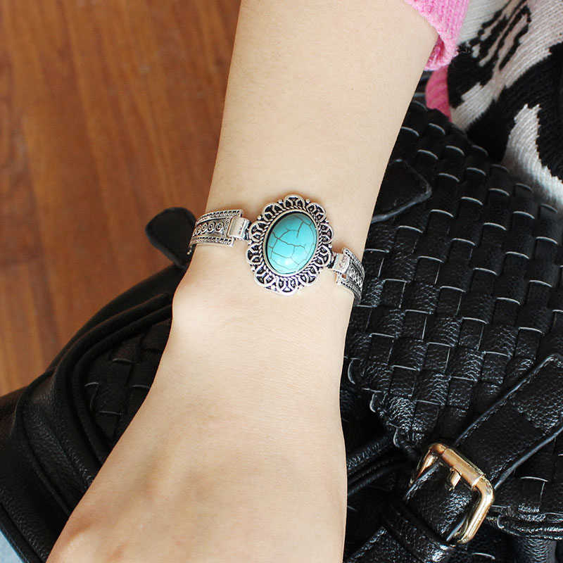 F&U Antique Silver Color Oval Stone Adjustable Size Chain Bracelet Bangle for Girls Gift Bijoux