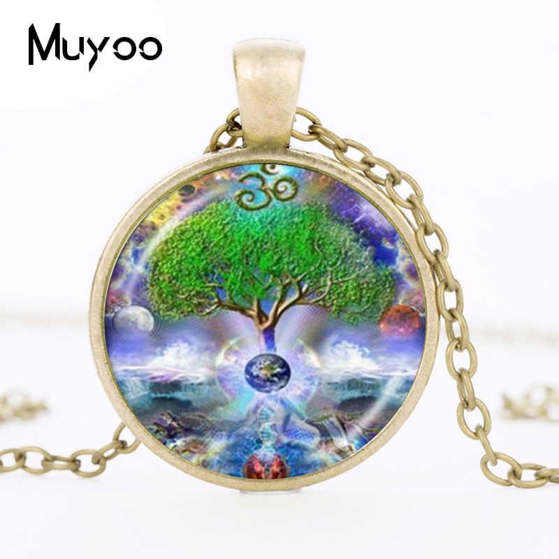 Om naszyjnik drzewo życia wisior czakry Mandala Namaste biżuteria planeta ziemia przestrzeń wodospad zdjęcie Choker naszyjnik kobiety HZ1