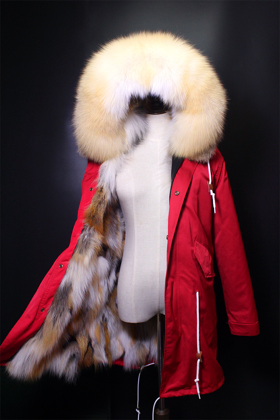 Furlove 2017 long parkas winter jacket women parka real natural fur coat raccoon fur collar thick warm fox fur liner red shell warm raccoon fur collar coat women winter real fox fur liner hooded jacket women long parka female ladies fp891