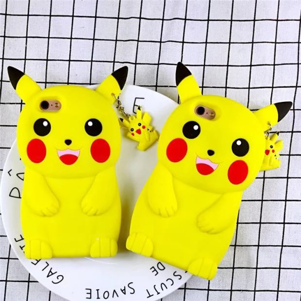 New 3D Cartoon Pokemon Pikachu Case Soft Silicon Back Cover for iPhone SE 5 5S 5C & 6 6S & 6 6S Plus