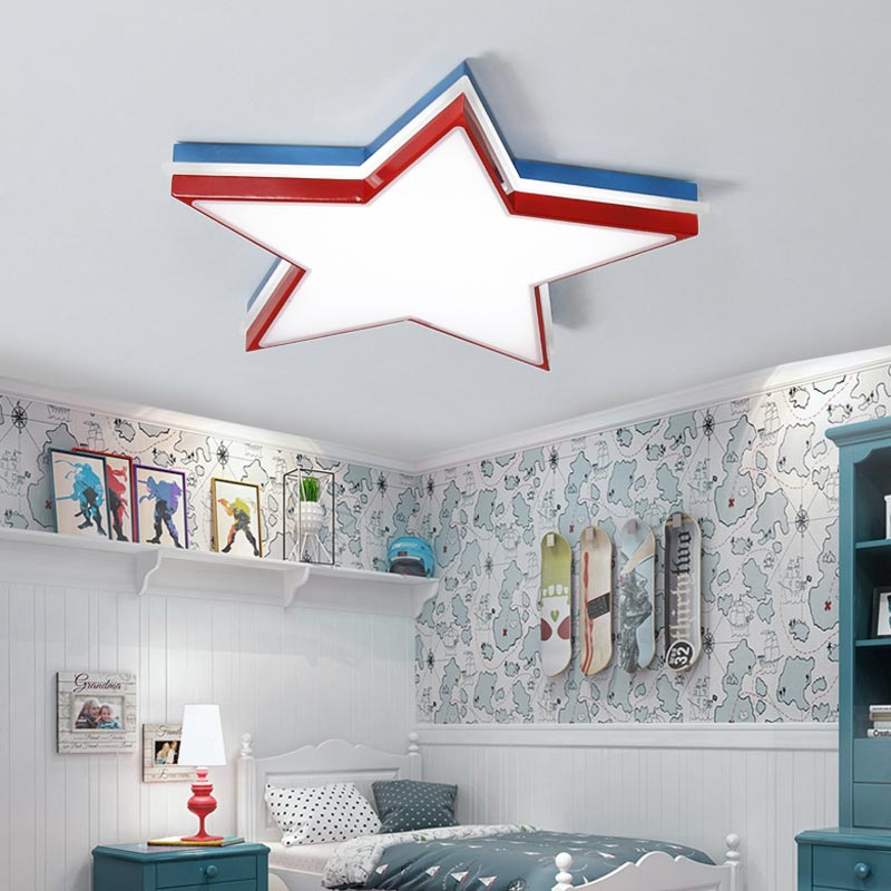 Modern Star Led Ceiling Lamp With Remote Control Light Fixture Bedroom Kitchen Living Room Decor Home Lighting White Lustre 220V lustre vintage industry american country loft edison ceiling lamp kitchen dinning living room modern home decor lighting fixture