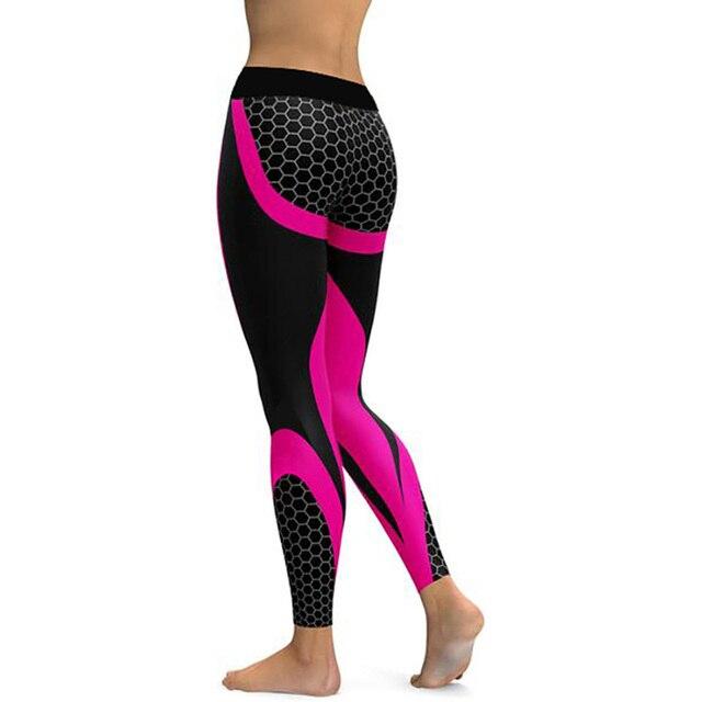 Hayoha Mesh Pattern Print Leggings fitness Leggings For Women Sporting Workout Leggins Elastic Slim Black White Pants 5