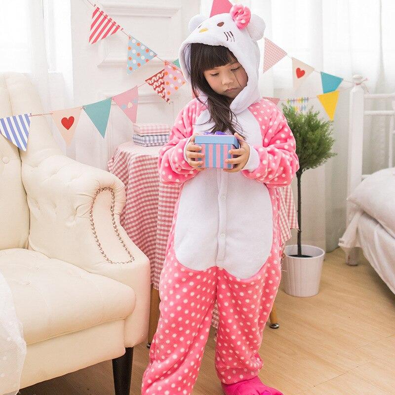 Payız Qış Oğlanları Qızlar Pijama Sevimli Cizgi Filmi KT Pişik - Karnaval kostyumlar - Fotoqrafiya 3