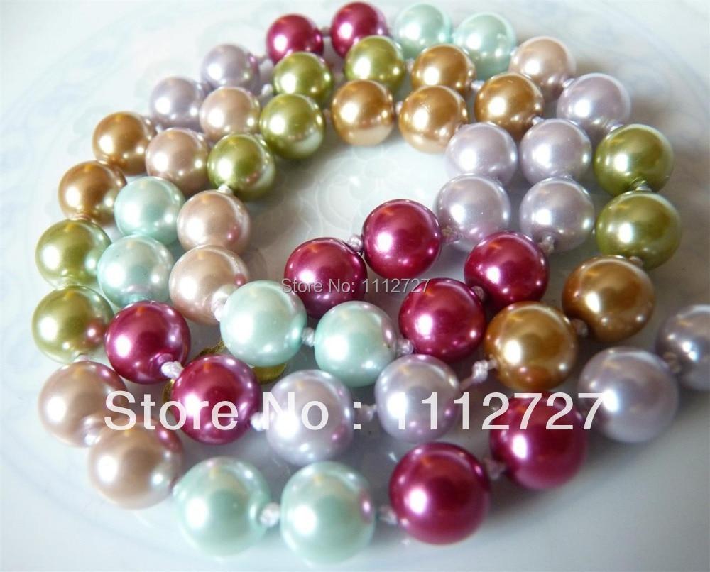 """Módní doplňky řemesla díly kolo 8 mm Shell SouthSea perly náhrdelník diy korálky 18 """"koule ženy dívky dárky velkoobchodní Ornament"""