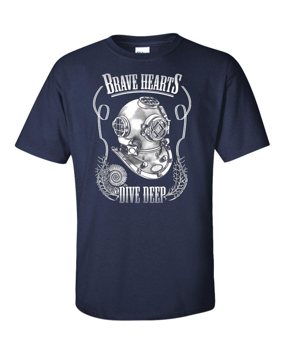2019 Summer Tee Shirt Scuba Divs T-Shirt Diver Helmet Water Brave Hearts Dive Deep Underwater  O-Neck T-shirt