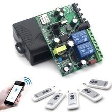 2 Gangs Wifi Switch 7-36V  90V-250V 433 MHz 10A Relay DIY Smart Home Modules Wireless Receiver Work with Alexa