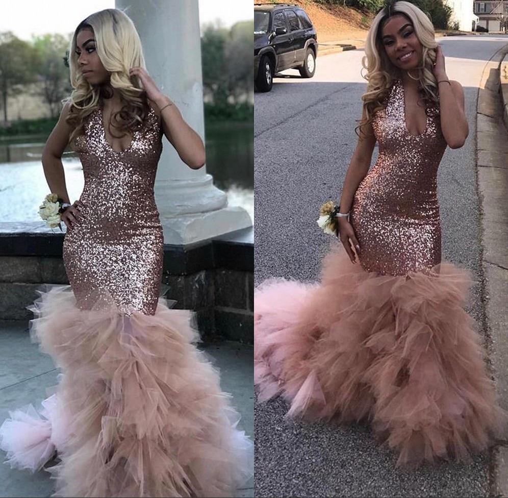 Robe de gala Sexy filles noires sirène rose robes de bal 2019 paillettes africaine à volants Train longues formelles robes de soirée