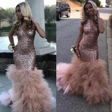 vestido de gala Sexy Black Girls Mermaid Pink Prom Dresses 2