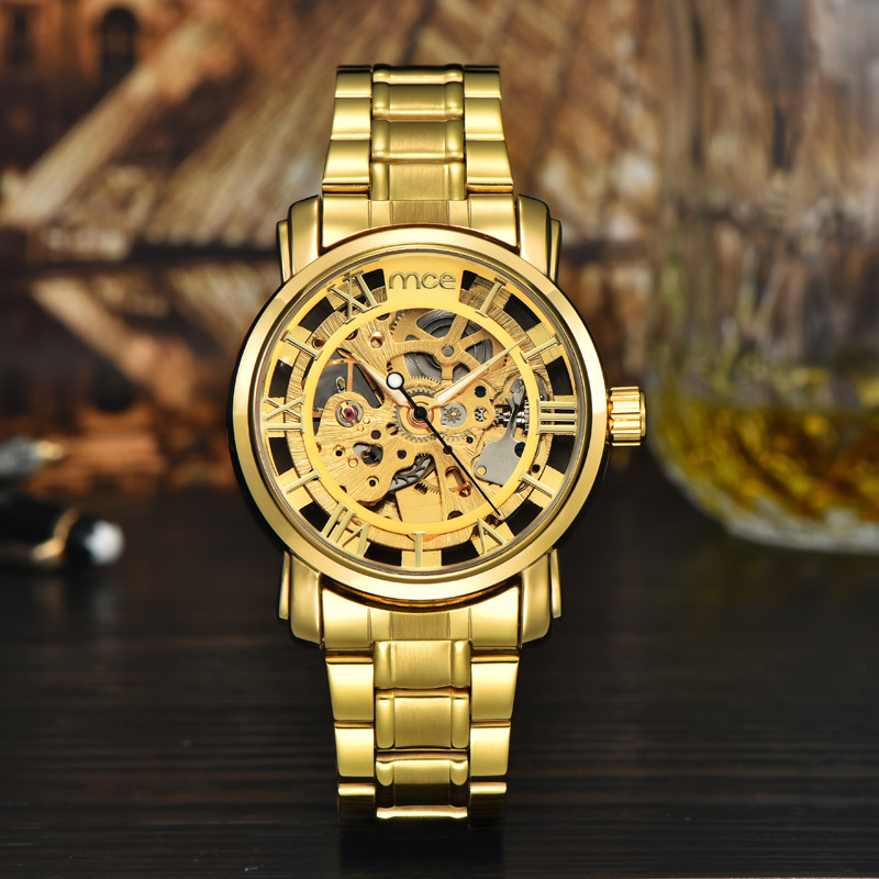 MCE Gold Watches Top Luxury Brand Clock Men Automatic Mechanical Watch Male Skeleton Wristwatches Full Steel Sports Design