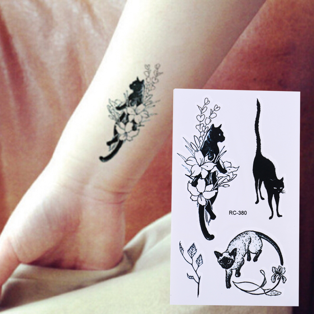 10.5*6cm  Sexy Black Cats Temporary Tattoo Body Art Arm Flash Tattoo Stickers Waterproof Fake Henna Painless Tatto Sticker
