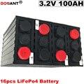 16 шт./лот батарея глубокого цикла 100Ah LiFePo4 3 2 V для электромобиля для гольфа перезаряжаемая литий-ионная батарея 100ah 200ah Бесплатная доставка