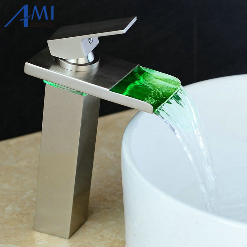 10.6 Nickel Brushed Water Powered LED Faucet Bathroom Basin Faucet  Brass Mixer Tap Waterfall Faucets Hot Cold Crane Basin Tap led faucet water powered bathroom basin faucet chrome polish brass mixer tap waterfall faucet hot cold basin tap lt 5656c
