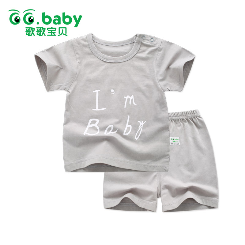 Hot 2pcs/set Letter Baby Boy Outfit Set Summer Newborn Baby Sets Infant Girl Clothing Suits Short Sleeve Toddler Baby Girl Set summer 2017 newborn baby boy clothes short sleeve cotton t shirt tops geometric pant 2pcs outfit toddler baby girl clothing set