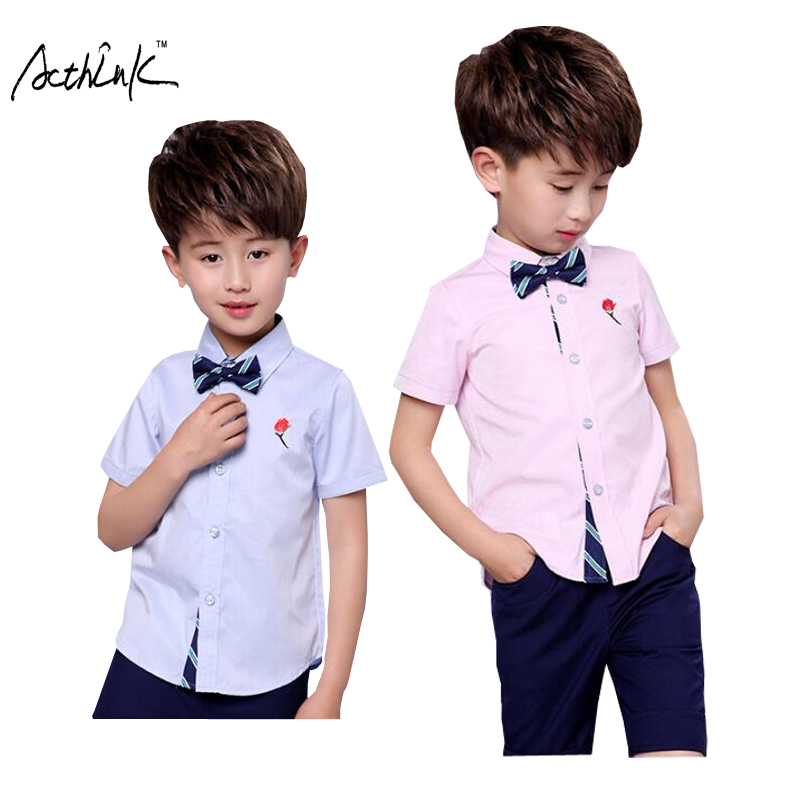 120a05ee55d ActhInK Children Summer Short Sleeve Embroider Shirt with Tie for Boys Kids  Wedding Shirt with Flower