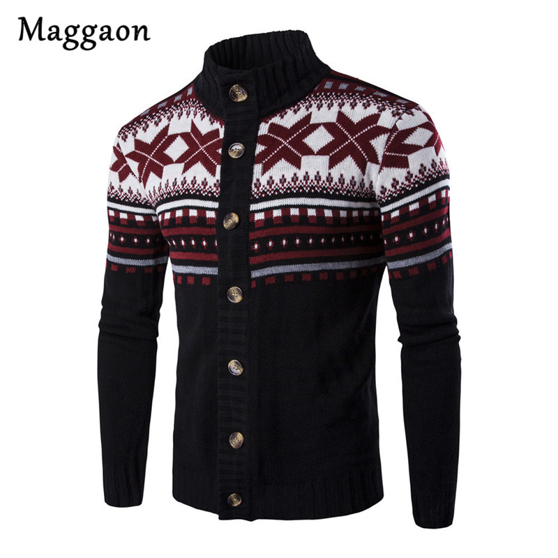 New Brand  Autumn Warm Christmas Sweater Men Fashion Printed Jacket Coat Casual Stand Collar Knitting Mens Cardigan Sweaters mens sweater fashion 2018