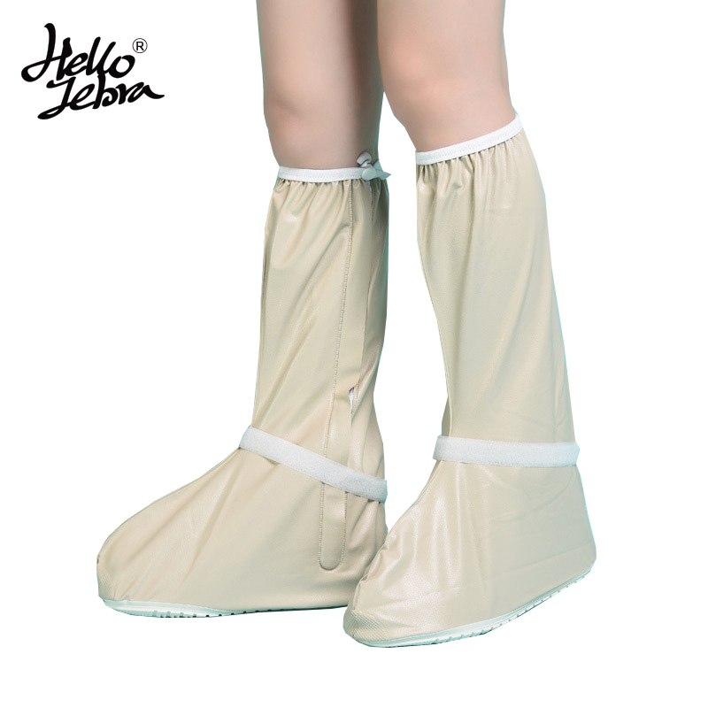 Hellozebra Women Rain Shoes Covers Long Solid Mid-Calf Boot Waterproof Casual Antifouling Shoe Platform Rain Boots 2016 Design