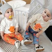 Baby Fall Clothing Sets Cotton T Shirts Long Pants Cute Fox Jumpsuits Boys Girls Sweatshirt Coat
