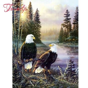 """Tuoilp """"bosque Águila Calva"""" diamante de imitación pegado, punto de cruz, Cuadrado completo y pintura redonda de diamante abstracto, artesanías artesanales, decoración del hogar"""