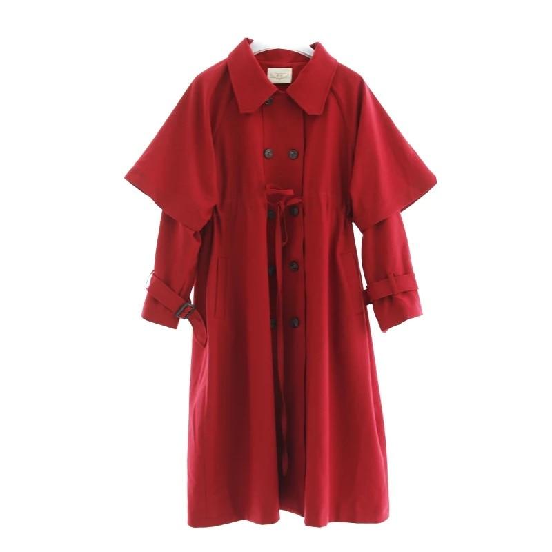 Foncé Rouge Occasionnel Automne Nouvelle Femmes Manteau Breasted Taille Arrivée Long 2017 Tranchée Réglable Lâche Mx245 Double Vintage 1wB7qgqn