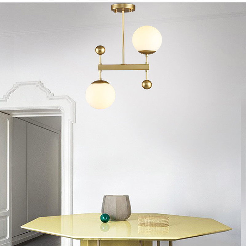 Post-modern Creative Dining Room Pendant Light Nordic Minimalist Glass Ball Light Desinger Studio Cafe Light With Led Bulbs nordic modern 10 head pendant light creative steel spider lamps unfoldable living room dining room post modern toolery led lamp page 10