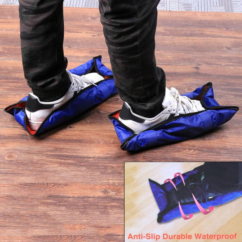 1 Para Wiederverwendbare Schuh Einen Schritt freisprecheinrichtung Socke Überschuhe Durable Tragbare Automatische Überschuhe Haus Staub abdeckung